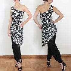 Asymmetrical Tango Tunic in black and white polka dots Tango dancewear [RT-D-21] - $125.80 : Latin dance wear, ballroom dance shoes, latin dance skirts & Salsa dresses.