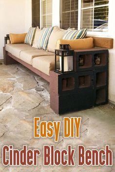 Easy DIY Cinder Block Bench Easy DIY Cinder Block Bench An easy weekend project. This cinder block b Patio Bench, Diy Bench, Diy Patio, Backyard Patio, Backyard Ideas, Outdoor Couch, Diy Outdoor Furniture, Outdoor Seating, Furniture Ideas