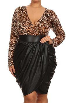 Plus Size Leopard Bubble Leather Skirt Dress