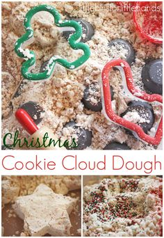 Christmas Cloud Dough Christmas cloud dough is the perfect sensory play recipe for the holidays. Make your Christmas cloud dough smell like fresh baked cookies from the oven! Preschool Christmas, Toddler Christmas, Noel Christmas, Christmas Activities, Christmas Themes, Christmas Cookies, Holiday Crafts, Activities For Kids, Indoor Activities