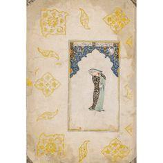 Deux pages d'album, Asie centrale, Boukhara. Milieu du XVème siècle. - gouache, encre et or sur papier, marges ornées de polylobes floraux représentant un homme enturbanné et une femme retenant son manteau. Dim. de la miniature : 16 x 8,7cm ; dim. de la page : 29,8 x 20,2 cm