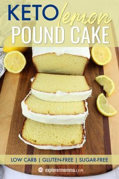 This tangy and delicious Keto lemon pound cake recipe is sugar-free gluten-free and 9 grams of protein a slice Enjoy for a low carb breakfast or dessert ketodessert ketobreakfast lowcarbbreakfast # Keto Desserts, Sugar Free Desserts, Keto Recipes, Dessert Recipes, Keto Snacks, Holiday Desserts, Coconut Flour Desserts, Induction Recipes, Almond Flour Cakes