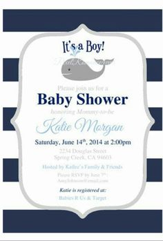 Nautical Baby Shower Invitation Boy Baby by Baby Shower Images, Unique Baby Shower, Baby Shower Fun, Baby Shower Gender Reveal, Baby Shower Parties, Baby Shower Themes, Shower Ideas, Printable Baby Shower Invitations, Baby Shower Printables