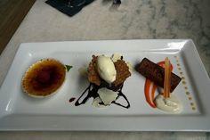 dessert trio | Frost - Mini dessert trio Trio Of Desserts, Mini Desserts, Dessert Trio, Creme Brulee, Carrot Cake, Chocolate Cake, Entrees, Panna Cotta, Waffles