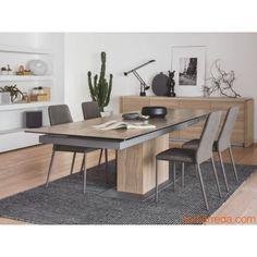 CB4087 Sincro - Verlängerbarer Tisch aus Furnierholz in der Farbe Natural, mit Platte aus Keramik in Haselnuss, mit Stühle CB1462 Club kombiniert