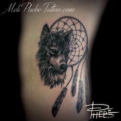 DreamCatcher and Wolf  By Phebe by Mek-Phebe-Tattoo.deviantart.com on @DeviantArt