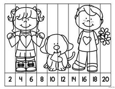 This set of FREE number puzzles is a great resource to help reinforce skip counting by and Students work on putting numbers in order while counting by to by to 100 and by to 50 & PuzzlesBlack & White Version - Quick & prep free! Counting Puzzles, Skip Counting, Learning Numbers Preschool, Kindergarten Activities, Kindergarten Preparation, Birthday Coloring Pages, Math Sheets, Animal Crafts For Kids, School Worksheets