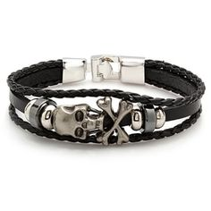 Shop for Men's Black Leather Bracelet With Stainless Steel Skull and Crossbones. Get free delivery On EVERYTHING* Overstock - Your Online Jewelry Shop! Skull Bracelet, Skull Jewelry, Men's Jewelry, Hook Bracelet, Bracelet Men, Fashion Bracelets, Fashion Jewelry, Men Bracelets, Estilo Rock