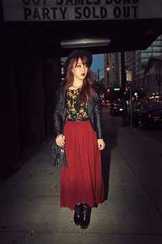 """Gallery Jacket, American Apparel Skirt //""""Party Sold Out"""" by Ivy Xu // LOOKBOOK.nu"""