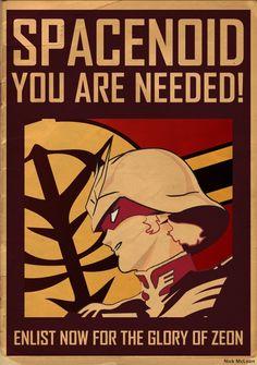 Join Zeon! Fantastic Gundam Propaganda Poster Great art from Nick McLean. Could…