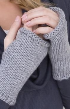 If you can do a gauge swatch, you can make these wristers! You just knit a square piece with a bit of ribbing then sew up the side leaving a hole for your thumb. Voila!.