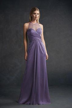 fdeb0009f6 L194054 Long Jewel Neckline Belsoie Tiffany Chiffon Bridesmaid Dress