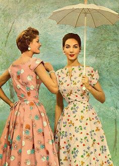 dresses from 1954//////// What a refreshing change from the current time (2017)....garments for women that are not overly aggressive, not overtly sexy but are easy to wear dresses, modest, feminine and very attractive.  What a change from the current overly sexy looks....