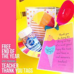 Free End of Year Teacher Thank You Ice Cream Printable Tags #teacher #thank you #appreciation #icecream #printable #free