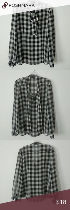 *Host Pick* Pussybow Windowpane Plaid Blouse So cute for fall! Black and White windowpane plaid, tie-neck pussybow with buttons, can be worn tied it untied depending on your mood. Sleeves have a very slight blouson. It does have a side zip for easy on and off. Sheer material. 100% polyester, machine washable. Allen B. By Allen Schwartz Tops Blouses