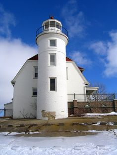 Point Betsie Lighthouse, located on the eastern shore of Lake Michigan, in Benzie County, Michigan, at entrance of Manitou Passage, on Point Betsie, just beyond the southern end of Sleeping Bear Dunes National Lakeshore--history