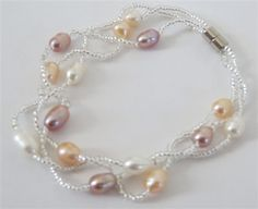 Multi-color Freshwater Pearl and Seed Bracelet