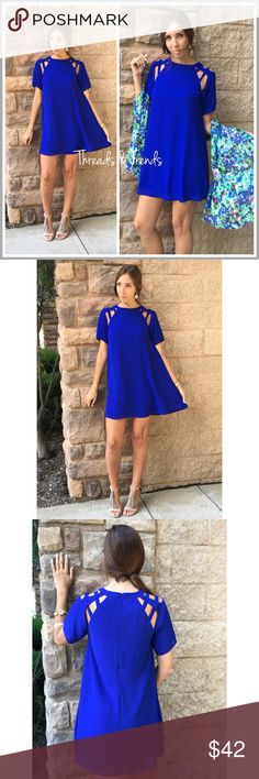 Azure Trapeze Dress Beautiful  trapeze dress featuring romantic strappy cut out shoulders. Zipper closure in back for easy wear. Made of a  flowy medium weight polyester material. Fully lined high quality swing dress, care free and comfortable Threads & Trends Dresses