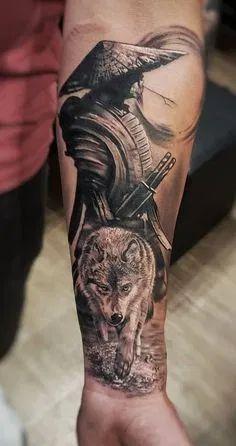 Wolf Tattoo Forearm, Wolf Tattoo Sleeve, Forearm Sleeve Tattoos, Best Sleeve Tattoos, Tattoo Sleeve Designs, Tattoo Designs Men, Cool Tattoos, Samurai Tattoo Sleeve, Tattoo Wolf