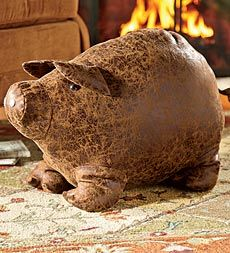 Faux Leather Pig Ottoman - Plow & Hearth (be still my heart!) (they have a dog ottoman too) got this piggy for xmas! This Little Piggy, Little Pigs, Christian Vegan, Family Room Furniture, Mini Pigs, Interesting Animals, Flying Pig, Leather Ottoman, Distressed Leather