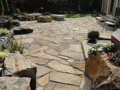 flag stone patio LOVE It!