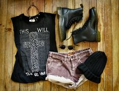 Black cotton tee, brown wasted jean shorts, knitted woolen cap, indie vintage sunglasses and black leather army work boots