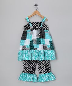 Take a look at this Turquoise Patchwork Swing Tunic & Pants - Infant, Toddler & Girls by Sew Childish on #zulily today!
