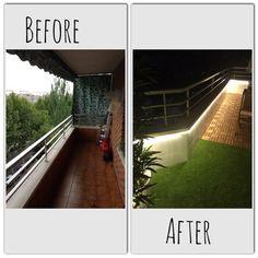Transformar terraza. Ikea Runnen. Artificial cesped grass leds iluminación exterior