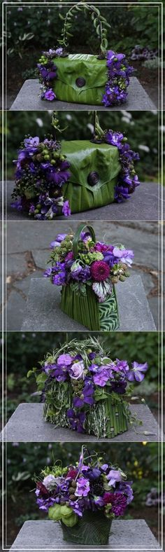 Flower purses for Bridesmaids with purple flowers 1
