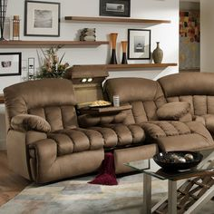 This gorgeous, comfortable, dual reclining sofa features lights, cupholders, armrest and drawer storage. Brown, padded suede microfiber upholstery provides comfort and style.