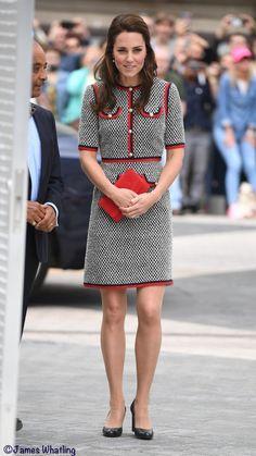 Kate wears Gucci's Grosgrain Trimmed Tweed Mini Dress