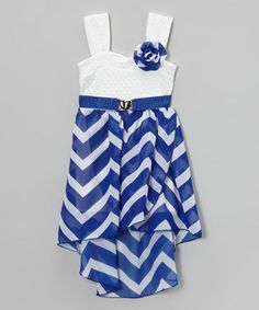 This Royal & White Zigzag Dress - Girls is perfect! #zulilyfinds