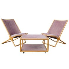 Pair of Scissor Chairs and Ottoman Table by Ward Bennett for Brickel Associates