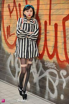 Love the tights.  130310-9896 - Japanese street fashion in Harajuku, Tokyo