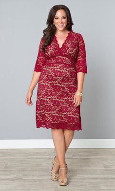 Our classic plus size Scalloped Boudoir Lace Dress in red is back and in a beautiful new lace.  www.kiyonna.com  #KiyonnaPlusYou  #MadeintheUSA  #SemiFormal  #Red