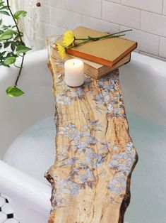 Potential DIY:Philadelphia made, spalted maple tub board featuring beautiful pressed flowers with a resin inlay. Diy Casa, My New Room, Bathroom Inspiration, Boho Inspiration, Decoration, Interior And Exterior, Interior Design, Interior Office, Interior Modern