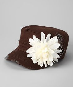 Take a look at this Brown Blossom Newsboy Hat by Rhinestone Junkie on #zulily today!