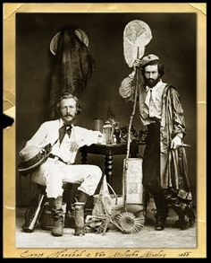 An old worn photo - Ernst Haeckel and his assistant Nicholas Miklouho-Maclay. Vintage Safari, Ernst Haeckel, Vintage Images, Old Photos, Trumpet, Canary Islands, Natural History, Giraffe, Discovery