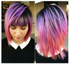 Purple ombre dip dyed hair