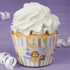 These zoo animal cupcake wrappers are super cute for your zoo animal baby shower.  Serving cupcakes is much easier then a cake and they look super cute too!