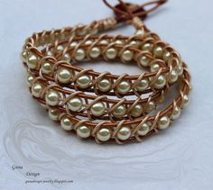 Plaited bracelet from leather cord and beads by gunadesign TUTORIAL by gunadesign on Etsy https://www.etsy.com/listing/157410982/plaited-bracelet-from-leather-cord-and