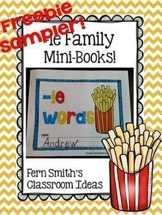 FREEBIE Sampler Printable Phonics Mini-Books for the -ie Family - Perfect for Literacy Centers, Homework, Seat Work, Word Work, Daily Five, RTI and Reading Small Group Work. #TPT #Free #FernSmithsClassroomIdeas