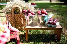 mesa de frutas em festa de aniversário picnic no parque para menino de cinco anos. A ideia da caixa de ovos para colocar as ameixas é genial!