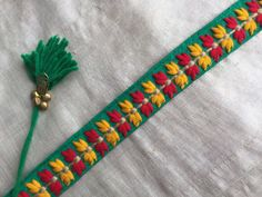 Green Trim Multicolour Embroidered Indian by IndianCraftSafari