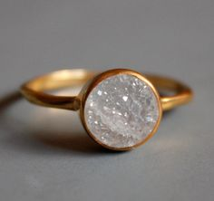 Gemstone Ring  Druzy Ring  Round Shape  Stacking Ring by OhKuol