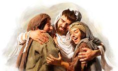 Lazarus embracing Martha and Mary