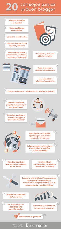 20 consejos para ser un buen blogger #infografía #blogging