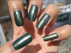 Green w/ Gold Scribble Drag Marble Nail Art Tutorial
