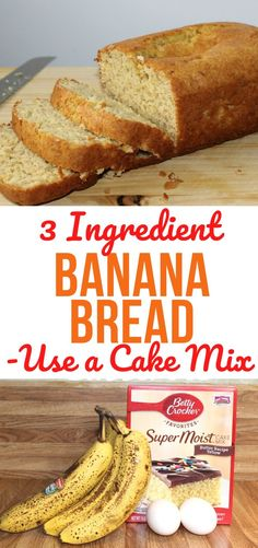 Make a moist and delicious banana bread using only THREE ingredients! Starting with a cake mix makes this recipe super easy. Recipes Using Bananas, Recipes Using Cake Mix, Banana Bread Recipes, Cake Mix Banana Bread, Banana Bread Recipe Made With Cake Mix, Super Moist Banana Bread, 3 Ingredient Banana Bread Recipe, Weight Watcher Banana Bread, Easy Bread Recipes