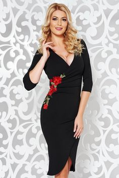879028c4fb StarShinerS black dress elegant with embroidery details with tented cut  flexible thin fabric cloth